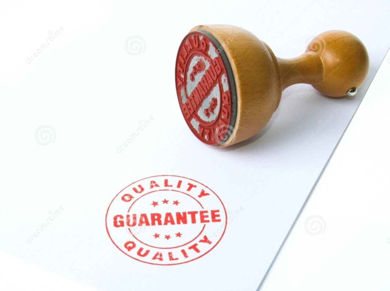 Sello de garantía de calidad.